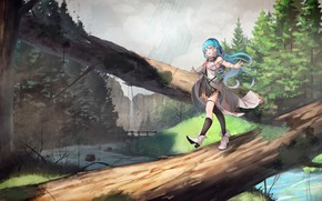 Picture anime, girl, log, song