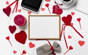 Picture coffee, Red, Paper, Hearts, white background, phone