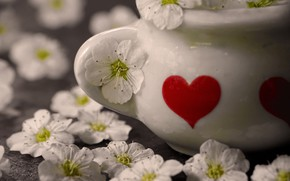 Picture flowers, vase, heart