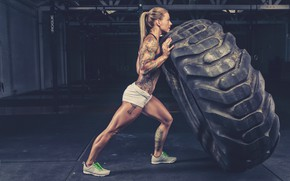 Picture wheel, tattoos, female, crossfit