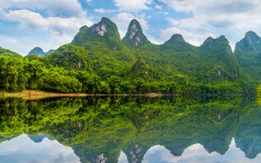 Picture Nature, Mountains, Trees, River, Landscape