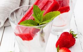 Picture glass, ice, strawberry, ice cream, mint, dessert, sweet