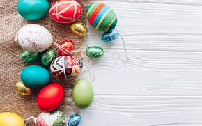 Picture eggs, spring, colorful, Easter, wood, spring, Easter, eggs, decoration, Happy