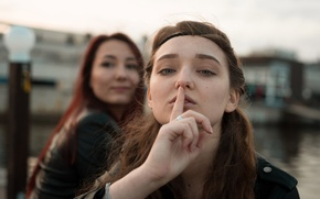 Picture look, two girls, gesture, the sign of silence