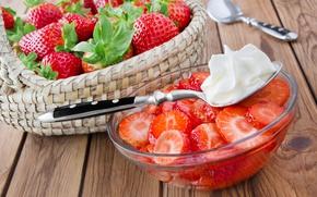 Picture berries, basket, cream, strawberry, fresh, strawberry, cream, berries