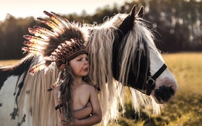 Picture summer, the game, boy, pony
