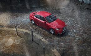 Picture red, rain, street, Lexus, Lexus, Red, Rain, SPORT, Worldwide, IS 200t F