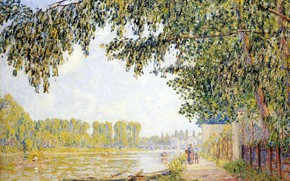 Picture landscape, river, boat, paddles, Francis Picabia