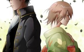 Picture girl, anime, art, guy, two, Gintama, Hijikata Toushirou, Okita Mitsuba