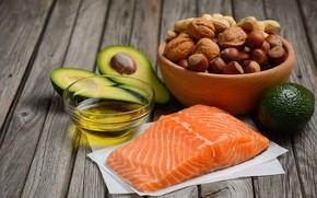 Wallpaper oil, nuts, avocado, salmon