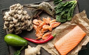 Picture greens, mushrooms, shrimp, seafood, salmon
