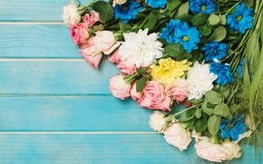 Picture flowers, roses, colorful, pink, buds, fresh, chrysanthemum, pink, flowers, roses