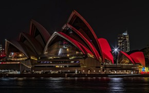 Picture sea, water, light, night, red, the city, lights, darkness, people, the building, building, home, skyscrapers, …