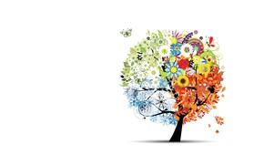 Picture tree, seasons, vector, art, children's