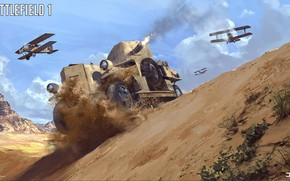 Picture mountains, desert, the plane, armored car, Battlefield 1