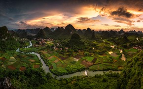 Picture the sky, clouds, mountains, river, hills, field, China, Asia