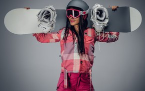 Wallpaper pants, costume, glasses, girl, brunette, athlete, background, snowboarder, helmet, jacket, dark, snowboard, Board, pose