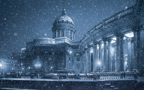 Wallpaper colonnade, promenade, Russia, temple, Sergey Rehob, Kazan Cathedral, winter, Saint Petersburg, snow