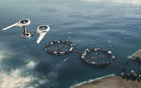 Picture sea, facilities, aircraft, From Port to Port, moodscene-concept
