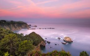 Picture sea, coast, Spain, Asturias, Beach of Silence, Castaneras, Novellana
