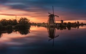 Picture river, the evening, channel, Netherlands, windmills