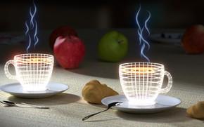 Wallpaper Cup, apples, croissants, neon, Tea