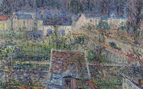 Picture Gustave Loiseau, picture, The Village Of Triel, house, Gustave Loiseau, landscape