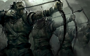 Picture grey, fiction, dark, arrows, Horde, horror, archers, Luke, Lord of the Rings, Orcs