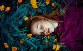 Wallpaper flowers, calendula, freckles, red, Ronny Garcia, freckled, sleeping girl, girl, redhead, grass, sleep
