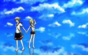 Picture the sky, clouds, children, anime, art, two, Vocaloid, Vocaloid, Kagamine Len, Kagamine Rin