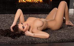 Wallpaper chest, look, pose, fire, model, naked, makeup, figure, brunette, tattoo, lies, Mat, fireplace, legs, on ...