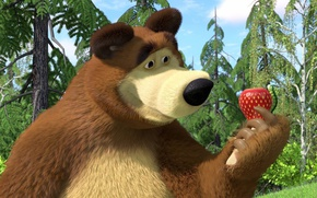 Picture cartoon, strawberry, bear, Masha and the bear