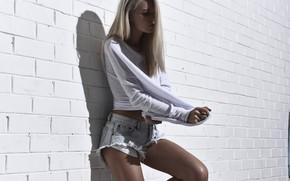 Picture girl, sweetheart, shorts, blonde, shorts, legs, beautiful, jacket, brick wall