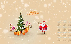 Picture tree, New year, Santa Claus, calendar, 2018