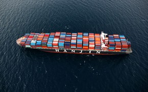 Picture The ocean, Sea, Top, The ship, A container ship, Container, Shipping, Hanjin, Hanjin Shipping