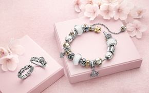 Picture decoration, flowers, ring, bracelet, brand, box, Pandora