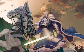 Picture sunset, horse, horse, anime, art, the saber, Fate / Grand Order