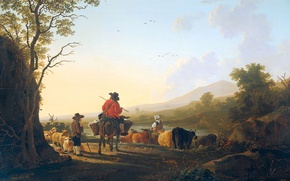 Wallpaper Landscape with a shepherd and a Drover, Jacob van stry, oil, picture, tree