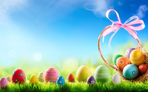 Picture grass, the sun, flowers, basket, spring, Easter, flowers, spring, Easter, eggs, decoration, Happy, the painted …