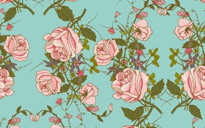 Picture background, roses, texture, vintage