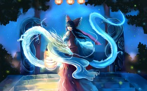 Wallpaper night, fireflies, magic, dragons, lights, ladder, bow, priestess, art, from the back, Hakurei Reimu, Touhou ...