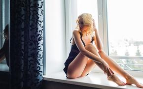 Wallpaper girl, panties, window, legs, Andrey Kels