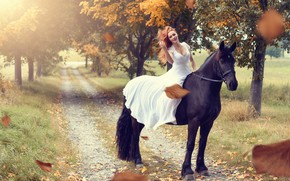 Picture horse, road, trees, leaves, mood, girl, horse, autumn, dress