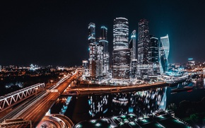 Picture light, night, the city, lights, road, Moscow, Russia, Moscow City