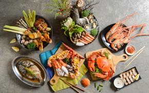 Picture crab, fish, shrimp, seafood
