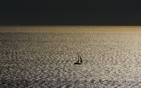 Picture sea, night, sail