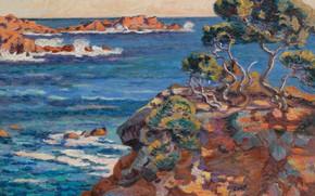 Picture sea, landscape, rocks, picture, Arman Hyomin, Armand Guillaumin, The sea Coast at Agay