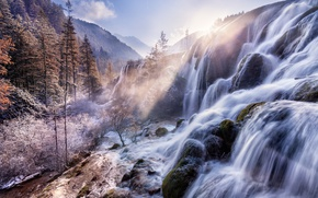 Wallpaper forest, trees, waterfall, mountains, stones, China