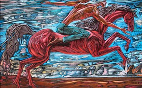 Wallpaper red horse, Sunsi, white handkerchief, the guy rushes, Aibek Begalin, Two thousand seven