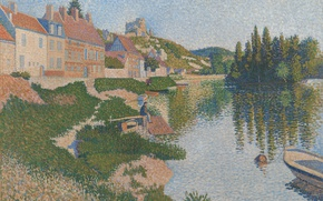 Wallpaper river, the city, home, pointillism, Les Andelys, Paul Signac, boat, picture